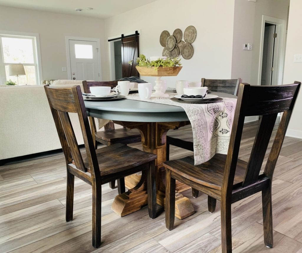 Dining room with luxury vinyl flooring