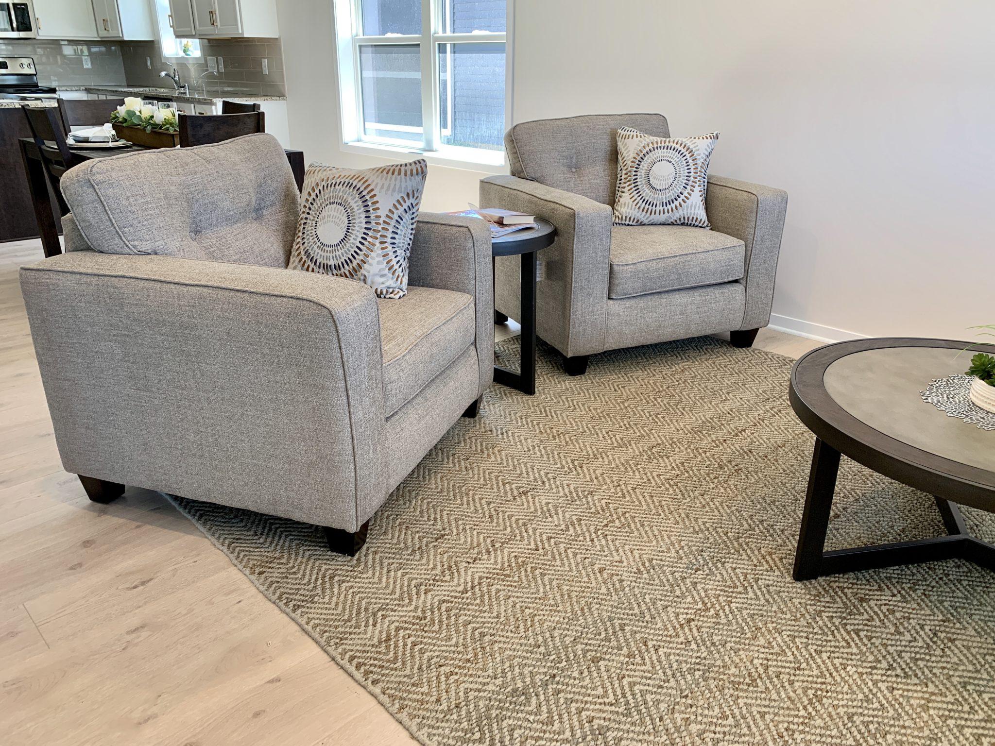 Living Room with Light Luxury Vinyl Plank Flooring