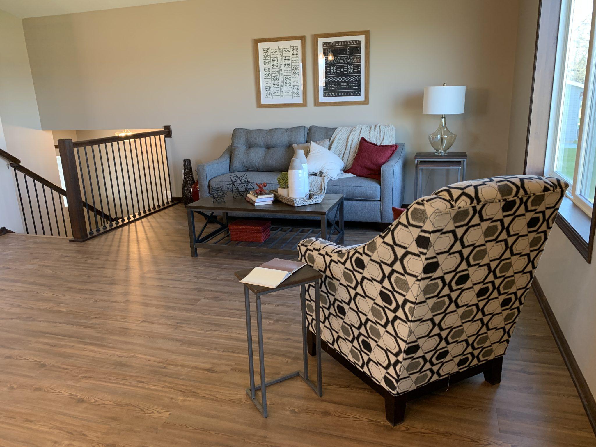 Living Room with Luxury Vinyl Plank Flooring